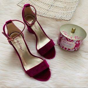 Lilly Pulitzer magenta color heels